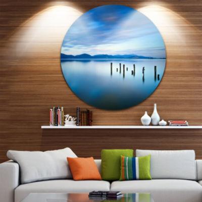 Design Art Cloudy Sky in Blue Sea Seascape CircleMetal Wall Art