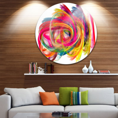 Design Art Colorful Thick Strokes Abstract CircleMetal Wall Art