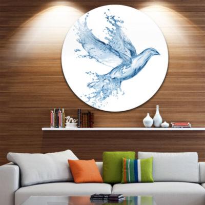 Design Art Dove from Water Splashes Disc Animal Circle Metal Wall Art