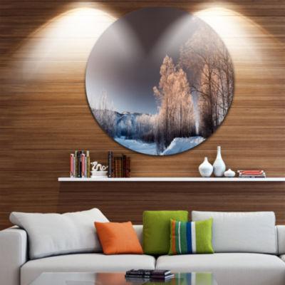 Design Art Futuristic Winter Sky Landscape Photography Circle Metal Wall Art