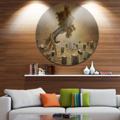 Design Art Escape the Last Wood Disc Large Contemporary Circle Metal Wall Arts