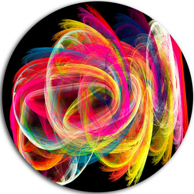 Design Art Colorful Thick Strokes in Black Large Abstract Circle Metal Wall Art