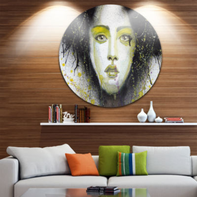 Design Art Girl with Yellow Eye Line Large Disc Abstract Portrait Circle Metal Wall Art