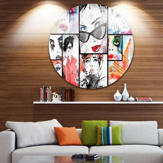 Design Art Girls Collage Disc Abstract Portrait Circle Metal Wall Art