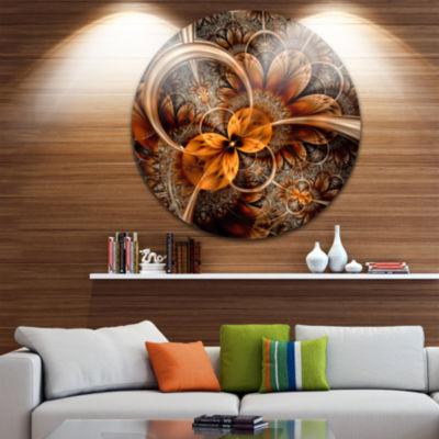Design Art Dark Orange Fractal Flower Abstract Round Circle Metal Wall Decor