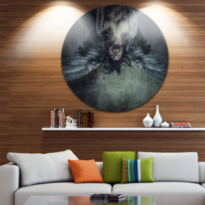 Design Art Fallen Angel of Death Abstract PortraitCircle Metal Wall Art