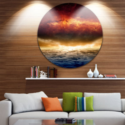 Design Art Dramatic Apocalyptic Design SpacescapeCircle Metal Wall Art