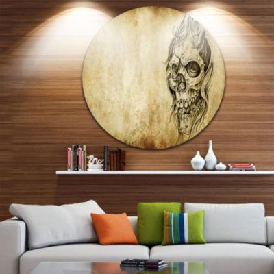 Design Art Death Tattoo Art Abstract Portrait Circle Metal Wall Art