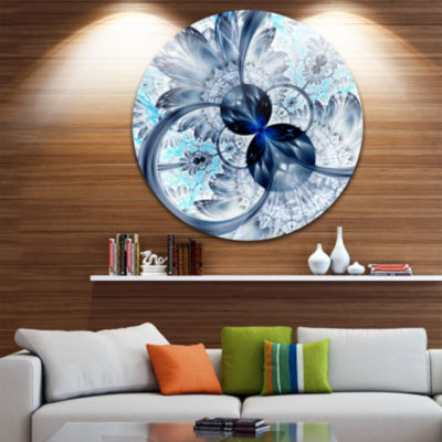 Design Art Dark Blue Purple Fractal Flower Abstract Round Circle Metal Wall Decor