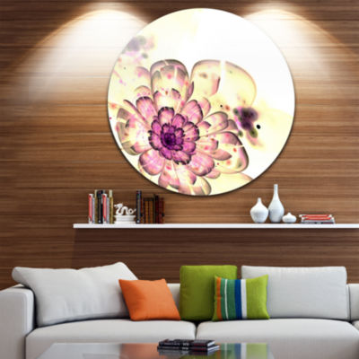 Design Art Dark Yellow Fractal Floral Art Disc Large Contemporary Circle Metal Wall Arts