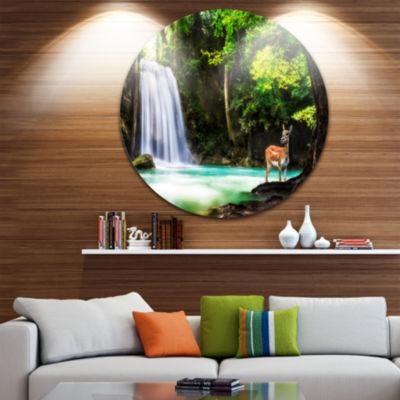 Design Art Erawan Waterfall Large Landscape PhotoCircle Metal Wall Art