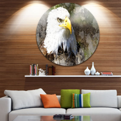 Design Art Eagle Head with Textures Animal CircleMetal Wall Art
