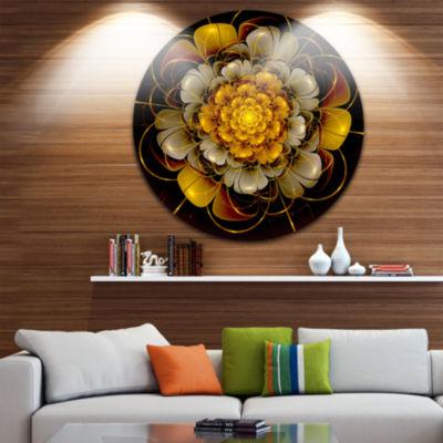 Design Art Dark Gold Fractal Flower Disc Large Contemporary Circle Metal Wall Arts
