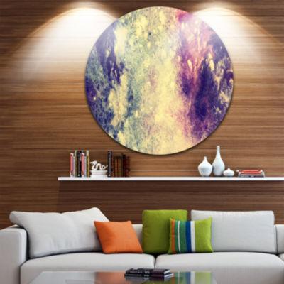 Design Art Deep Blue and Purple Abstract Circle Metal Wall Art