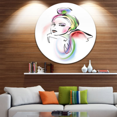 Design Art Drawing Portrait of Woman Disc AbstractCircle Metal Wall Art