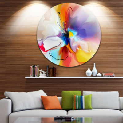 Design Art Creative Flower in Multiple Colors DiscLarge Floral Circle Metal Wall Art