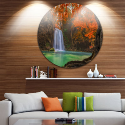 Design Art Erawan Waterfall Photography Circle Metal Wall Art