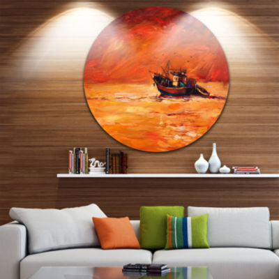 Design Art Fishing Boat in Red Hue Disc Seascape Circle Metal Wall Art