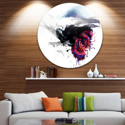 Design Art Dark Blue Abstract Splashes Disc Abstract Circle Metal Wall Art