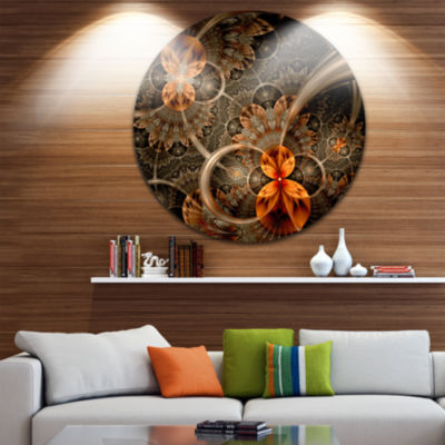 Design Art Dark Orange Symmetrical Flower AbstractRound Circle Metal Wall Decor Panel