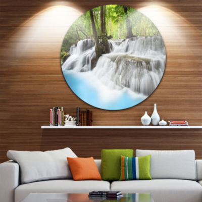 Design Art Erawan Waterfall Large Photography Circle Metal Wall Art