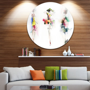 Design Art Fashion Girls Posing Disc ContemporaryCircle Metal Wall Art