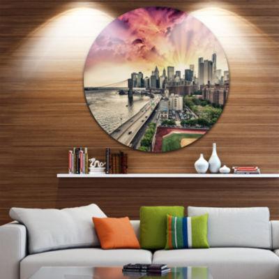 Design Art FDR Drive and Manhattan Skyline Disc Cityscape Photo Circle Metal Wall Art