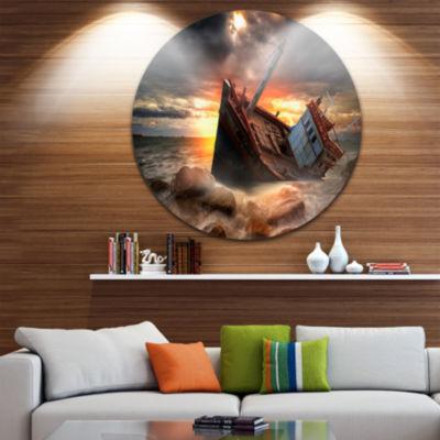 Design Art Fishing Boat Beached Landscape Photography Circle Metal Wall Art