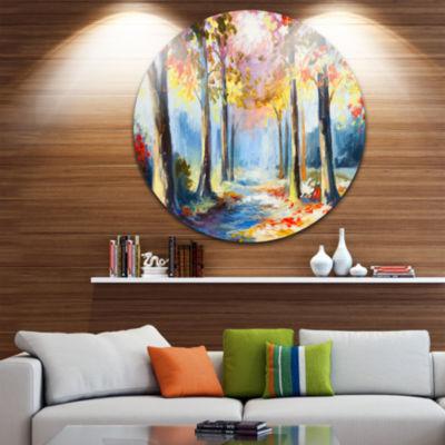 Design Art Colorful Spring Forest Landscape CircleMetal Wall Art