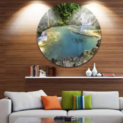 Design Art Erawan Waterfall Top View Disc Photography Circle Metal Wall Art