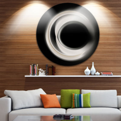Design Art Fractal White on Black Background Abstract Round Circle Metal Wall Decor Panel