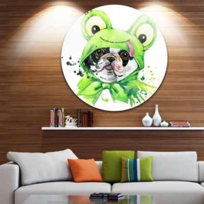 Design Art French Bulldog Illustration Animal Metal Circle Wall Art