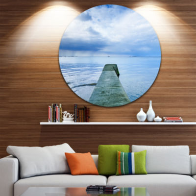 Design Art Concrete Pier Under Cloudy Sky SeascapeCircle Metal Wall Art