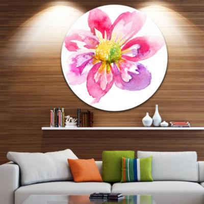 Design Art Full Bloom Pink Flower Floral Metal Circle Wall Art