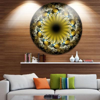 Design Art Dark Yellow Fractal Flower Abstract Round Circle Metal Wall Decor