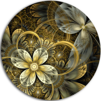 Design Art Fractal Orange Yellow Flowers Disc Floral Circle Metal Wall Art
