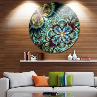 Design Art Fractal Dark Orange Blue Flowers Disc Floral Circle Metal Wall Art