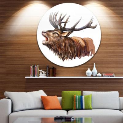 Design Art Deer Head Illustration Art Animal Circle Metal Wall Art