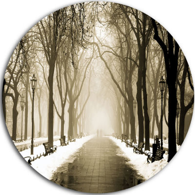 Design Art Fog in Alley Vintage Style Disc Landscape Photography Circle Metal Wall Art