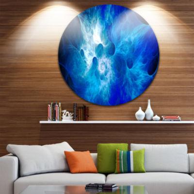 Design Art Fractal Blue Smoke Floral Circle MetalWall Art