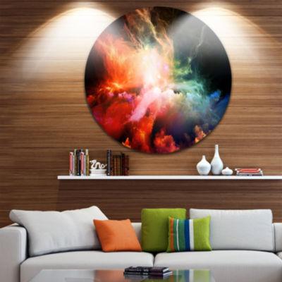 Design Art Colorful Nebulae Disc Contemporary Artwork on Circle Metal Wall Art