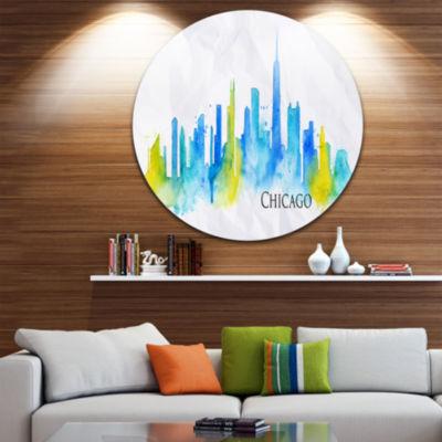 Design Art Chicago Blue Green Silhouette Disc Cityscape Circle Metal Wall Art