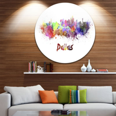 Design Art Dallas Skyline Disc Cityscape Metal Artwork Print