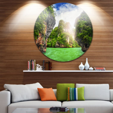Design Art Cave Rocks on Railay Beach Disc Landscape Circle Metal Wall Art