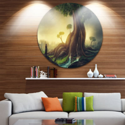 Design Art Giant Tree with Woman Disc Large Contemporary Circle Metal Wall Arts