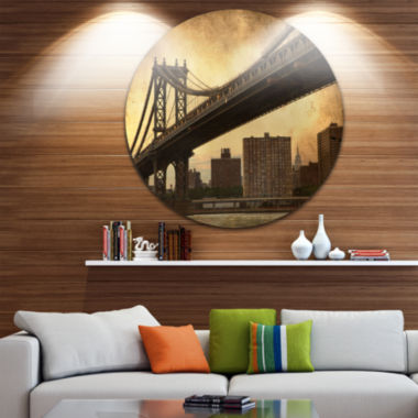Design Art Dark Manhattan Bridge Disc PhotographyCircle Metal Wall Art