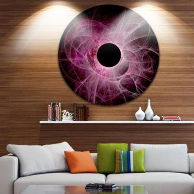 Design Art Fractal Purple Circle on Black AbstractRound Circle Metal Wall Decor Panel