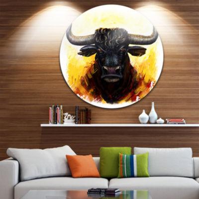 Design Art Fierce Bull Illustration Animal CircleMetal Wall Art