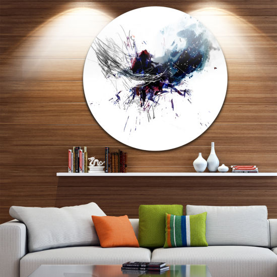 Design Art Dark Blue Multicolor Stain Disc Abstract Watercolor Circle Metal Wall Art