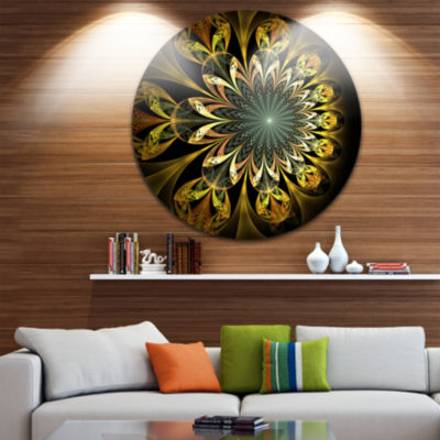 Design Art Dark Yellow Digital Flower Abstract Round Circle Metal Wall Decor Panel